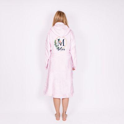 Badekåbe med blomstret monogram og tekst