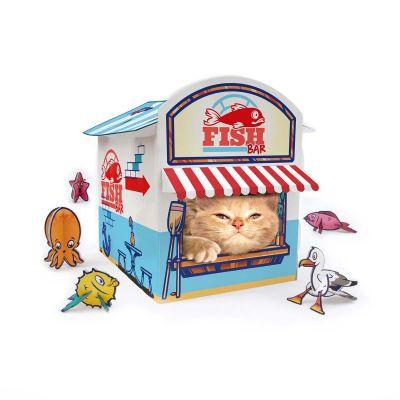 Katte-kiosk af pap