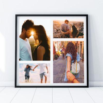 Personaliseret fotoplakat med 4 billeder