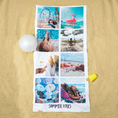 Personaliseret Håndklæde med 8 billeder og tekst