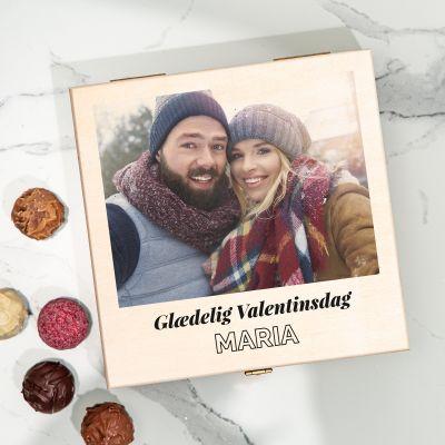 Chokoladeæske med billede og tekst