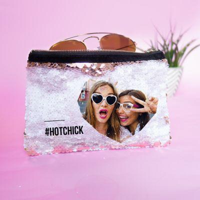 Personaliseret paillethåndtaske med billede og tekst