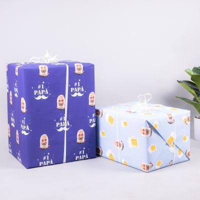 Gaveindpakningspapir med multiface motiv til mænd