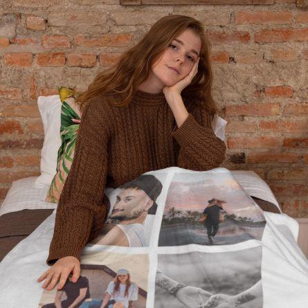Tæppe med 5 fotos og tekst
