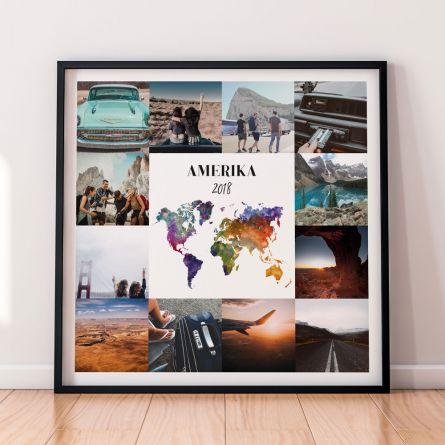 Personaliseret rejseplakat med 12 billeder