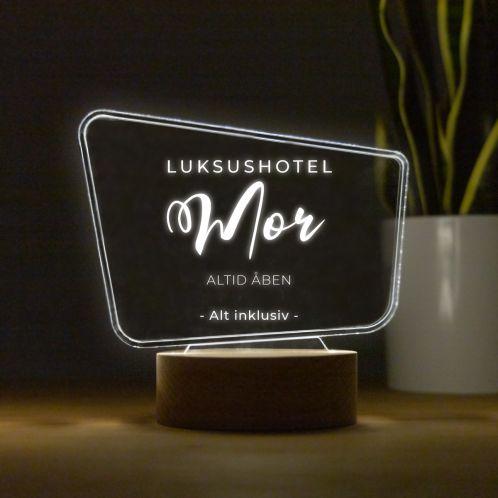 LED-lampe med tekst i billboarddesign