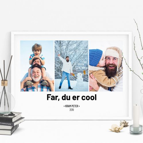 Plakat med 3 billeder og tekst