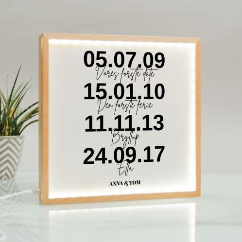 Billedlampe med vigtige datoer