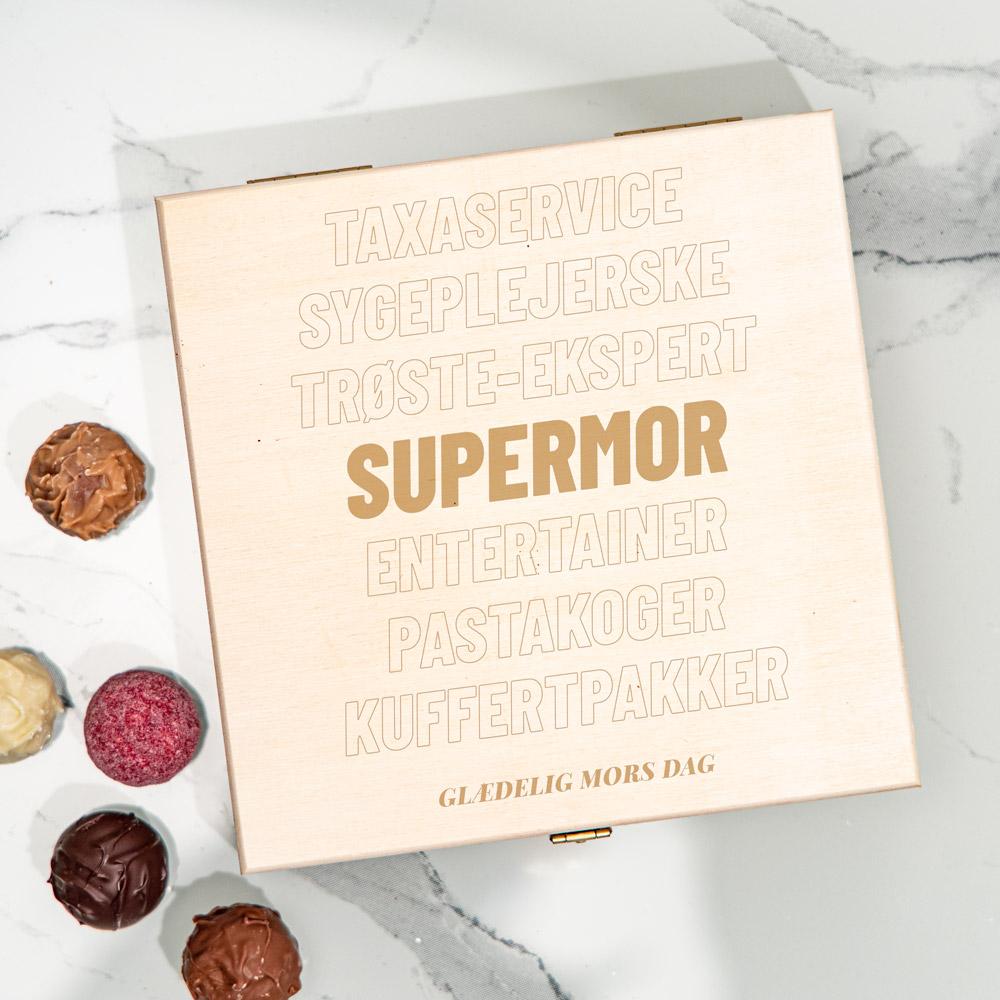 Personaliseret Chokolader i trææske med tekst