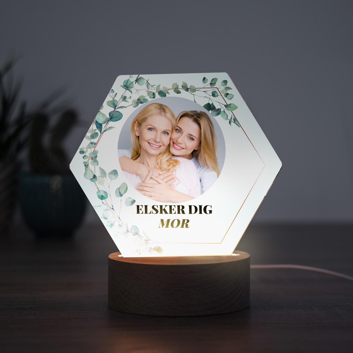 Gave til mor LED-lampe - Blade med billede og tekst