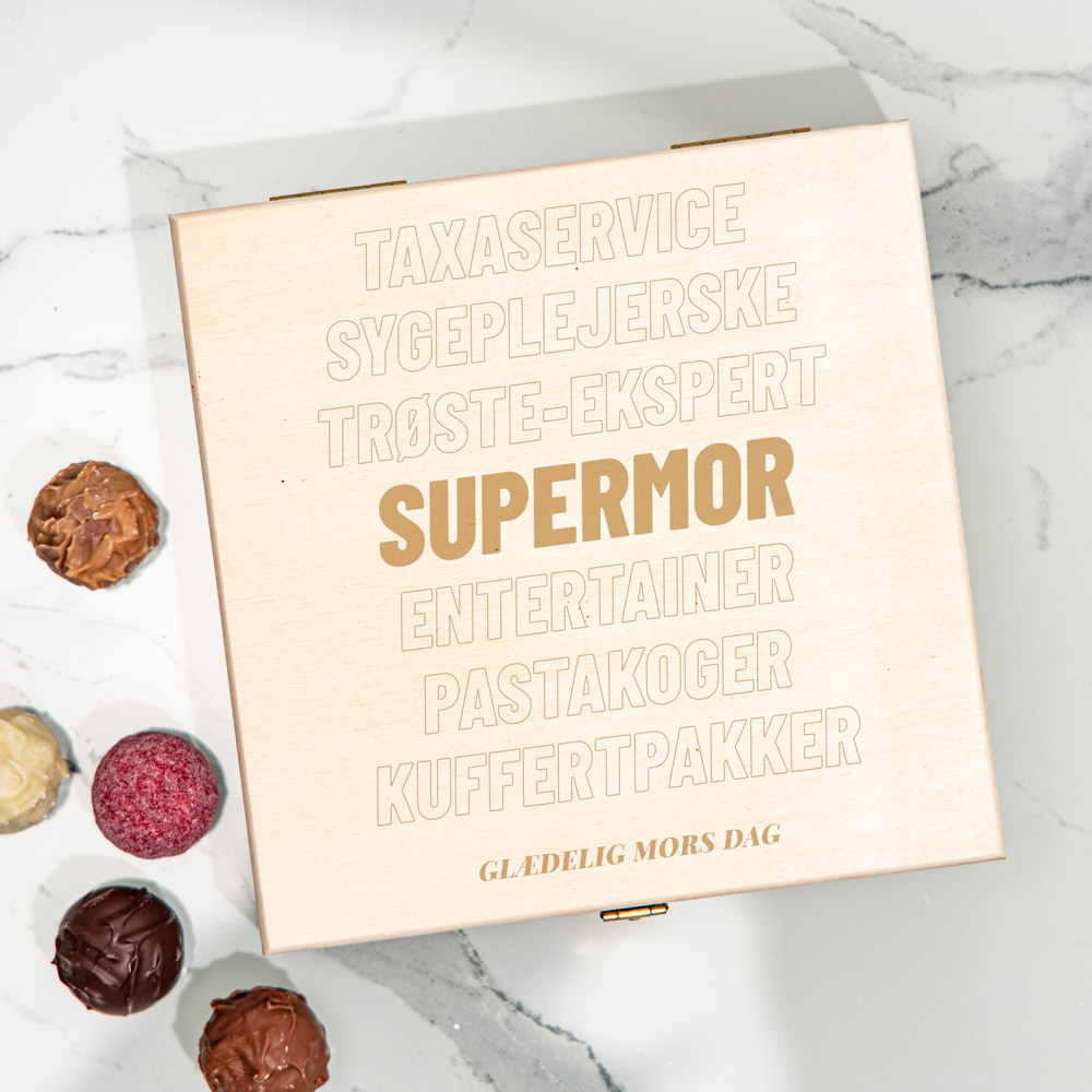 Gave til mor Personaliseret Chokolader i trææske med tekst