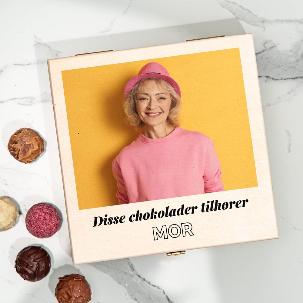 Gave til mor Chokoladeæske med billede og tekst