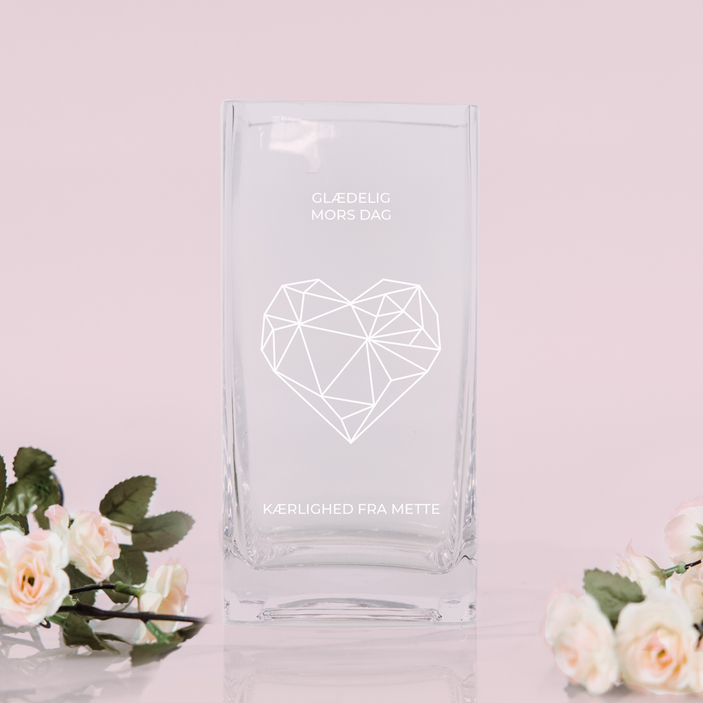Gaver til mor Vase med hjerte og tekst