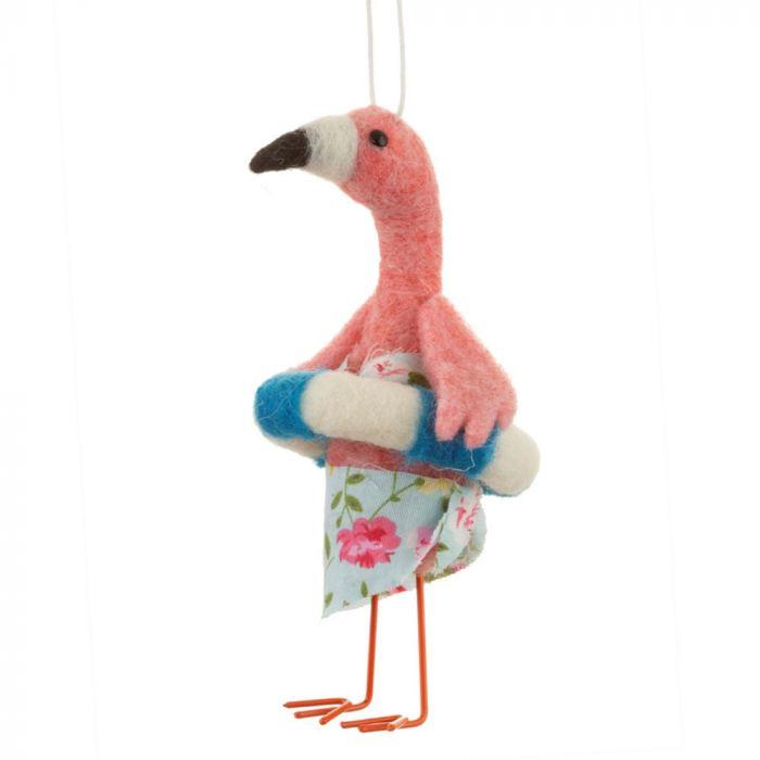 Flamingo på strandferie på juletræet