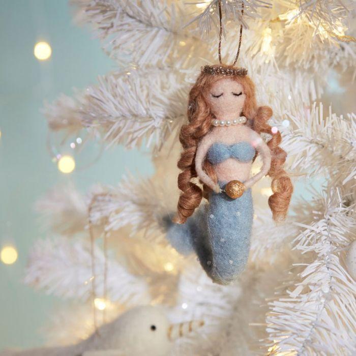 Juletræ Dekoration Havfrue med Perle