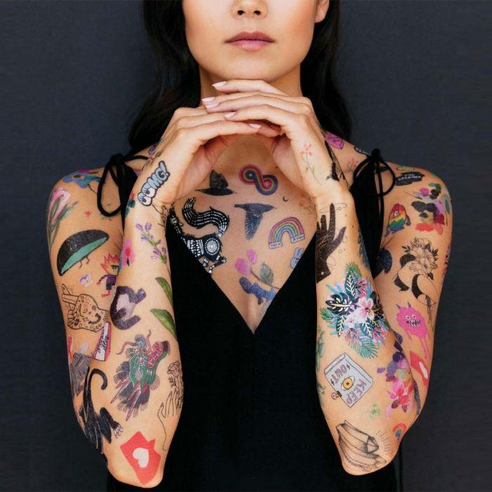 Midlertidige tatoveringer med forskellige slags