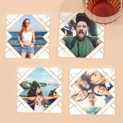 Coasters med billede, sæt på 4