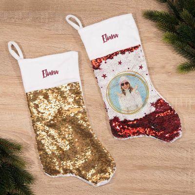 Palliet-julestrømpe med billede og navn