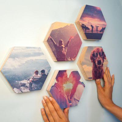 Træbillede som hexagon