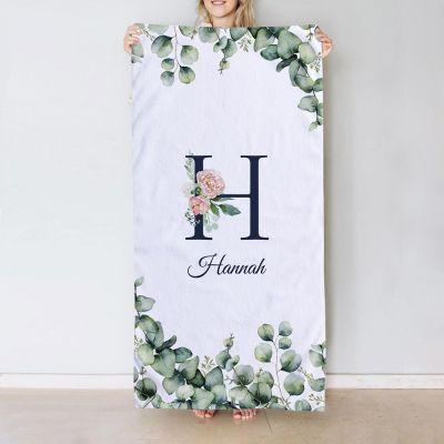 Håndklæde med monogram og tekst