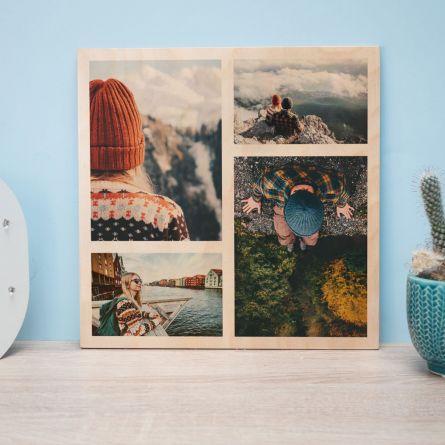 Personaliseret fototræbillede med 4 billeder