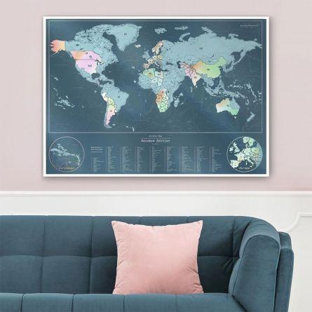 Skrabe verdenskort med perlemorsfarver