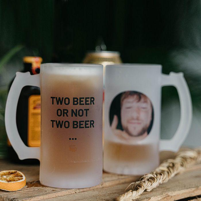 Personaliseret ølkrus med foto og tekst