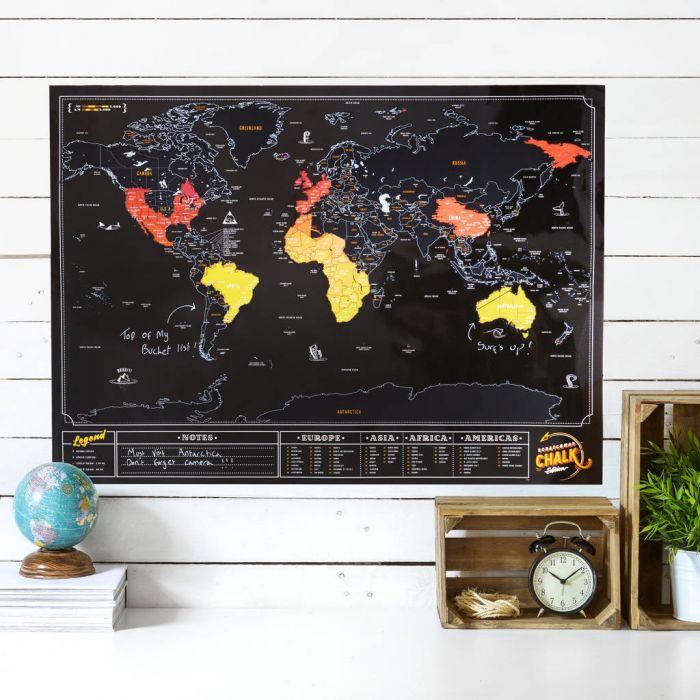 Verdenskort Scratch Map med tavle