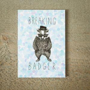 Lykønskningskort med Breaking BADger