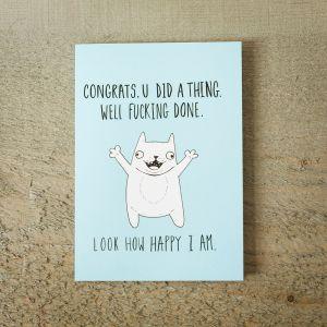 Lykønskningskort - Happy Cat