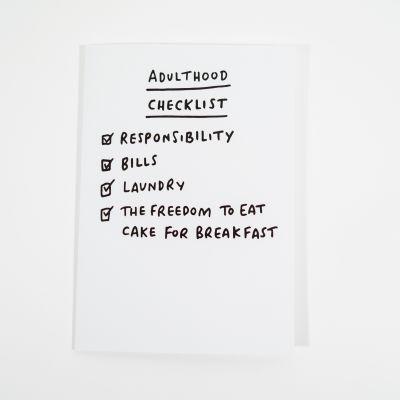 Kort - Gratulationskort Adulthood Checklist