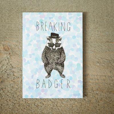 Kort - Lykønskningskort med Breaking BADger