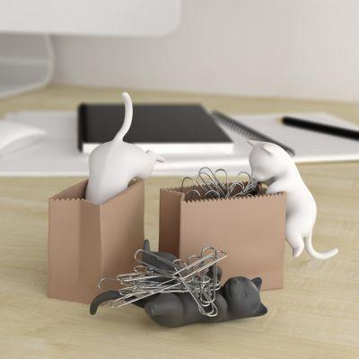 Sjov på kontoret - Papirclips-katte med poser