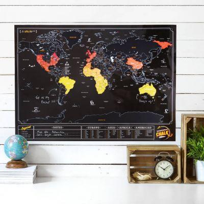 30 års fødselsdagsgave - Verdenskort Scratch Map med tavle