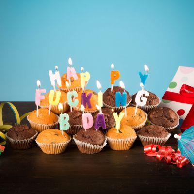 Sjov og spas - Happy Fucking Birthday fødselsdagslys