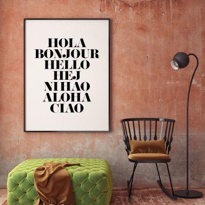 Plakat - Hola Bonjour Plakat af MottosPrint