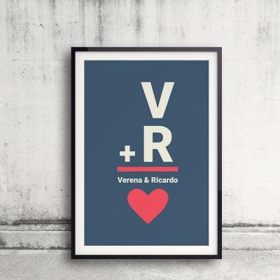 Valentinsdags gaver - Initialer - Personlig Plakat