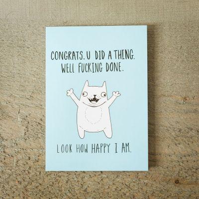 Kort - Lykønskningskort - Happy Cat