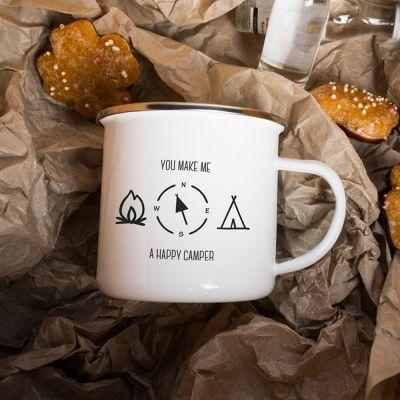 Kopper og glas - Metalkrus Happy Camper
