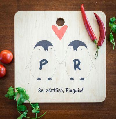 Gaver til par - Pingvin-Par Personligt Skærebræt