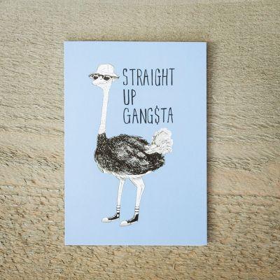 Kort - Gratulationskort Gangsta Struds
