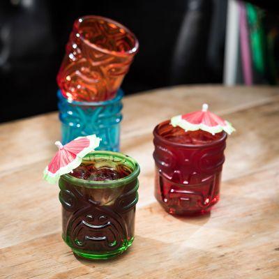 Kopper og glas - Farverige Tiki cocktailglas - sæt med 4