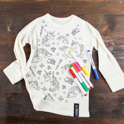 Gaver til børn - Enhjørninge T-shirt til selvmaleri
