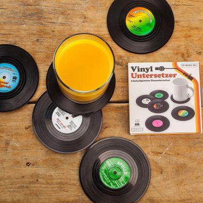 Retro ting - 6 bordskånere i Vinyl plade Look