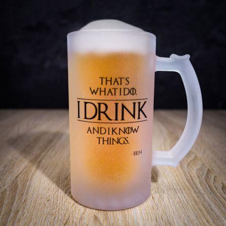 Personaliseret ølkrus I Know Things