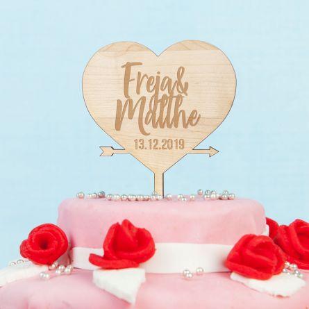 Personaliseret Cake Topper med hjerte