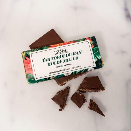 Personaliseret chokolade med blomstermønster og tekst