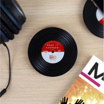 Induktionsoplader i vinylpladedesign