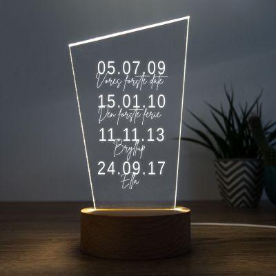 18 års fødselsdagsgave - LED-lampe med vigtige datoer