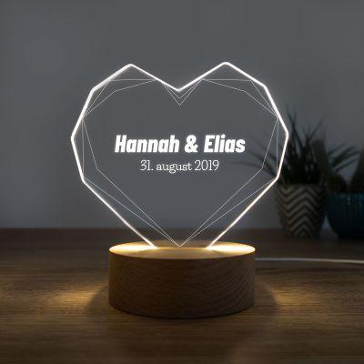 20 års fødselsdagsgave - LED-lampe som hjerte